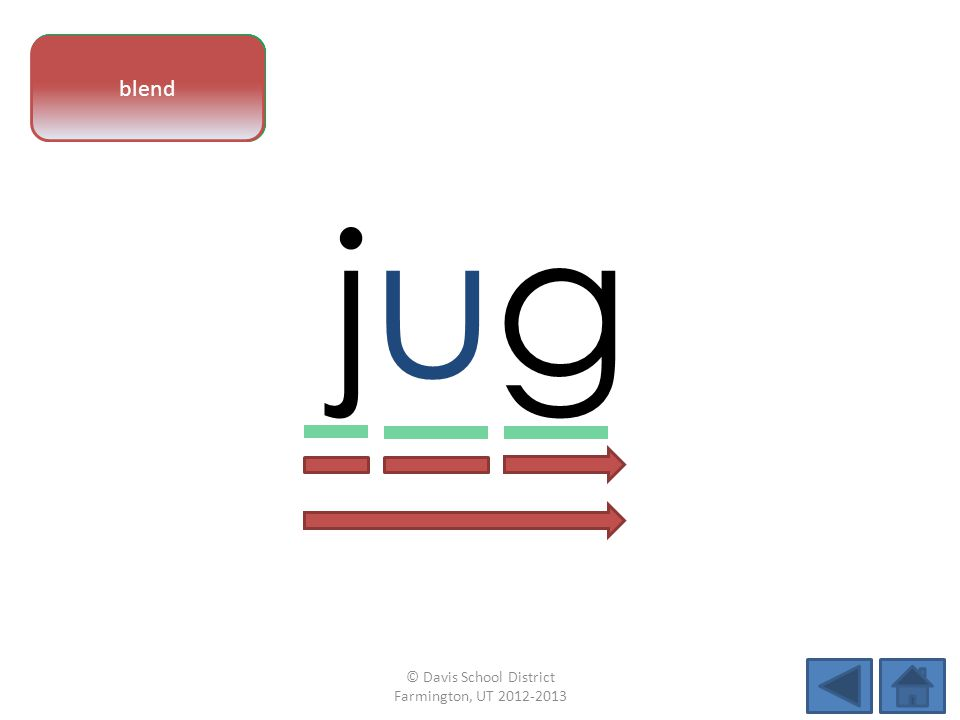 vowel pattern jugjug letter sounds blend © Davis School District Farmington, UT 2012-2013