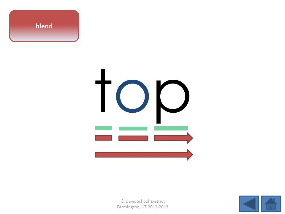 vowel pattern toptop letter sounds blend © Davis School District Farmington, UT 2012-2013