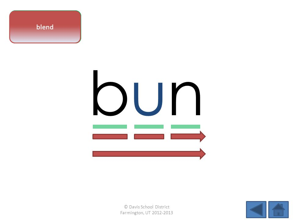 vowel pattern bunbun letter sounds blend © Davis School District Farmington, UT 2012-2013