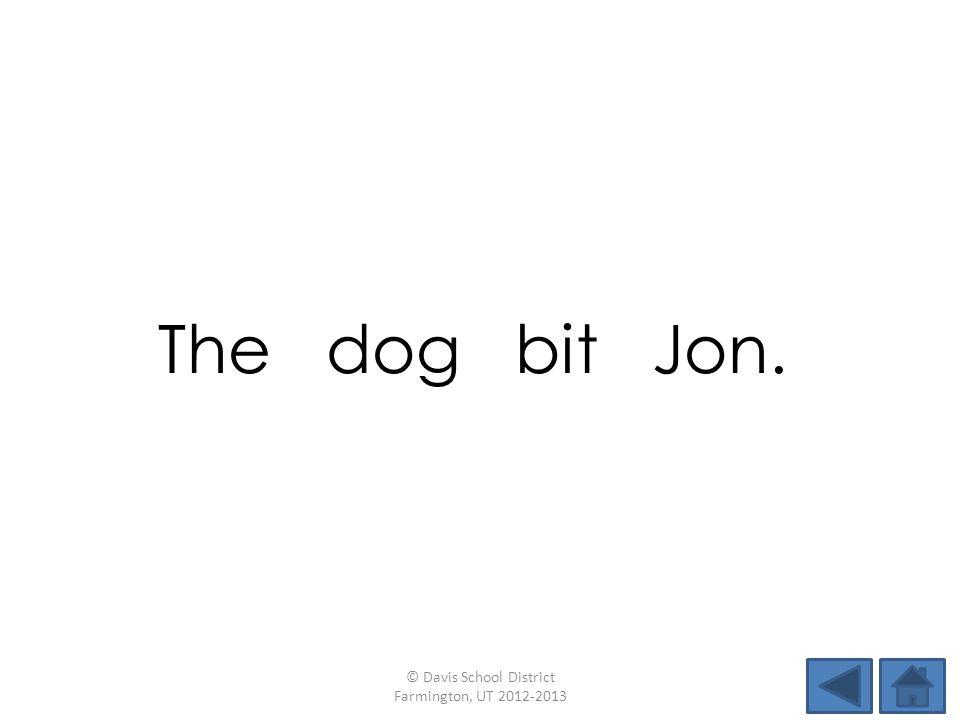 The dog bit Jon. © Davis School District Farmington, UT 2012-2013