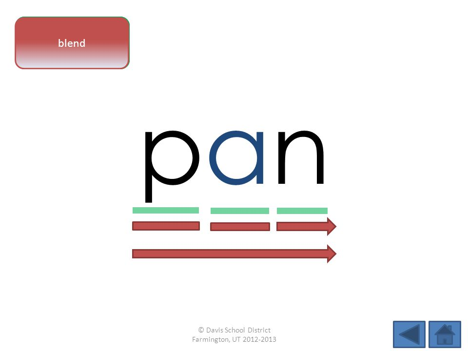 vowel pattern panpan letter sounds blend © Davis School District Farmington, UT 2012-2013