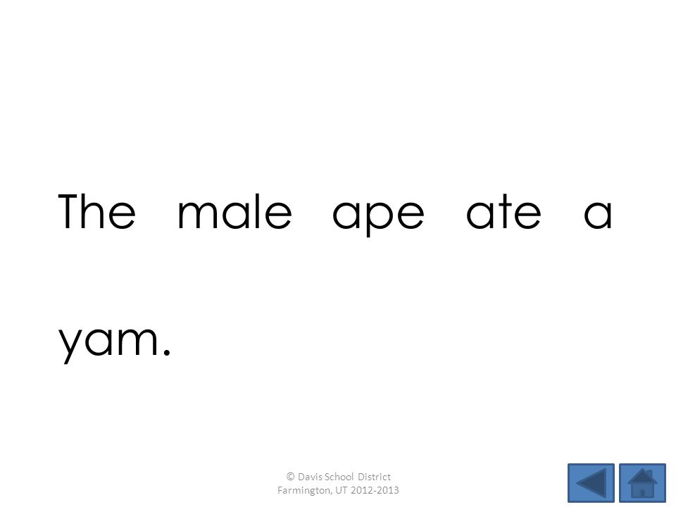 The male ape ate a yam. © Davis School District Farmington, UT 2012-2013