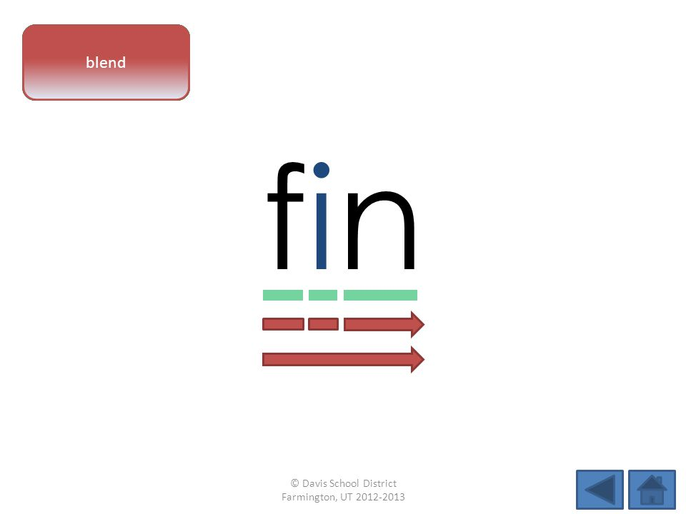 vowel pattern finfin letter sounds blend © Davis School District Farmington, UT 2012-2013
