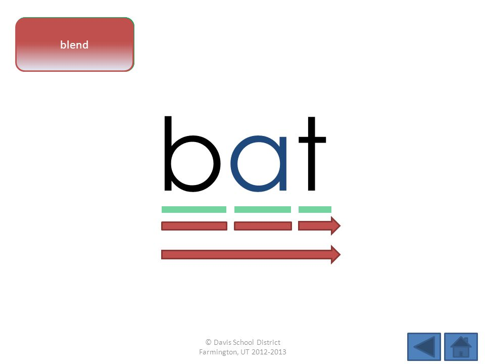 vowel pattern batbat letter sounds blend © Davis School District Farmington, UT 2012-2013