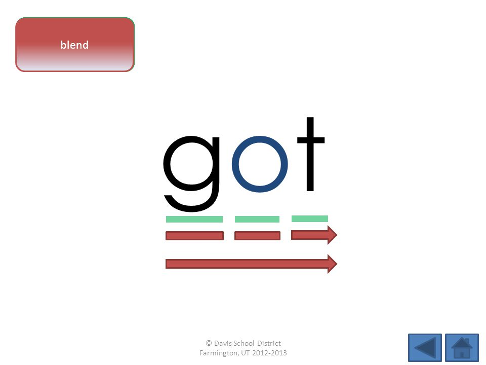 vowel pattern gotgot letter sounds blend © Davis School District Farmington, UT 2012-2013