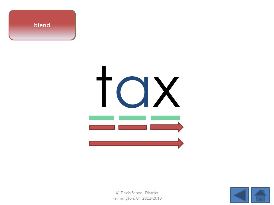 vowel pattern taxtax letter sounds blend © Davis School District Farmington, UT 2012-2013