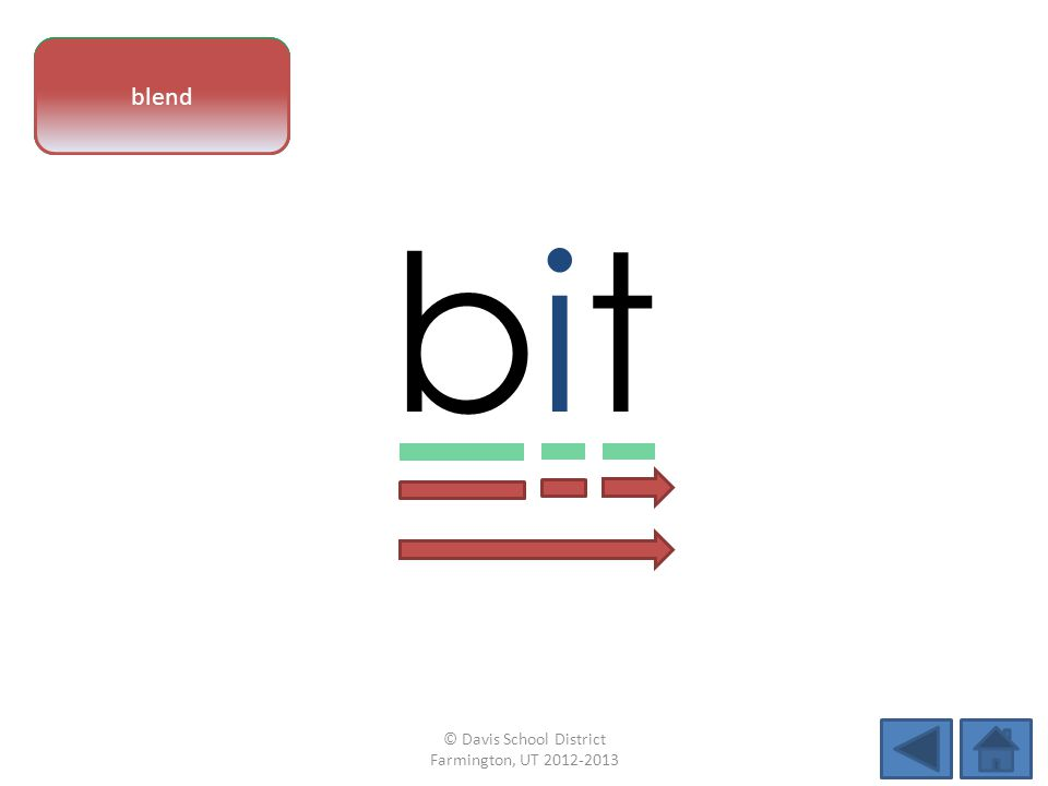 vowel pattern bitbit letter sounds blend © Davis School District Farmington, UT 2012-2013