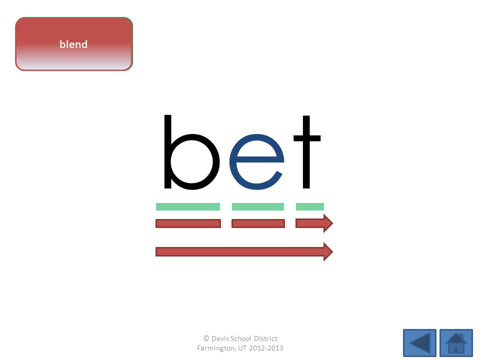 vowel pattern betbet letter sounds blend © Davis School District Farmington, UT 2012-2013