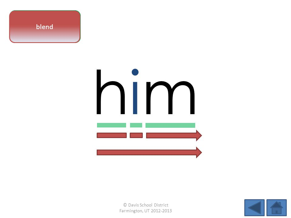 vowel pattern himhim letter sounds blend © Davis School District Farmington, UT 2012-2013