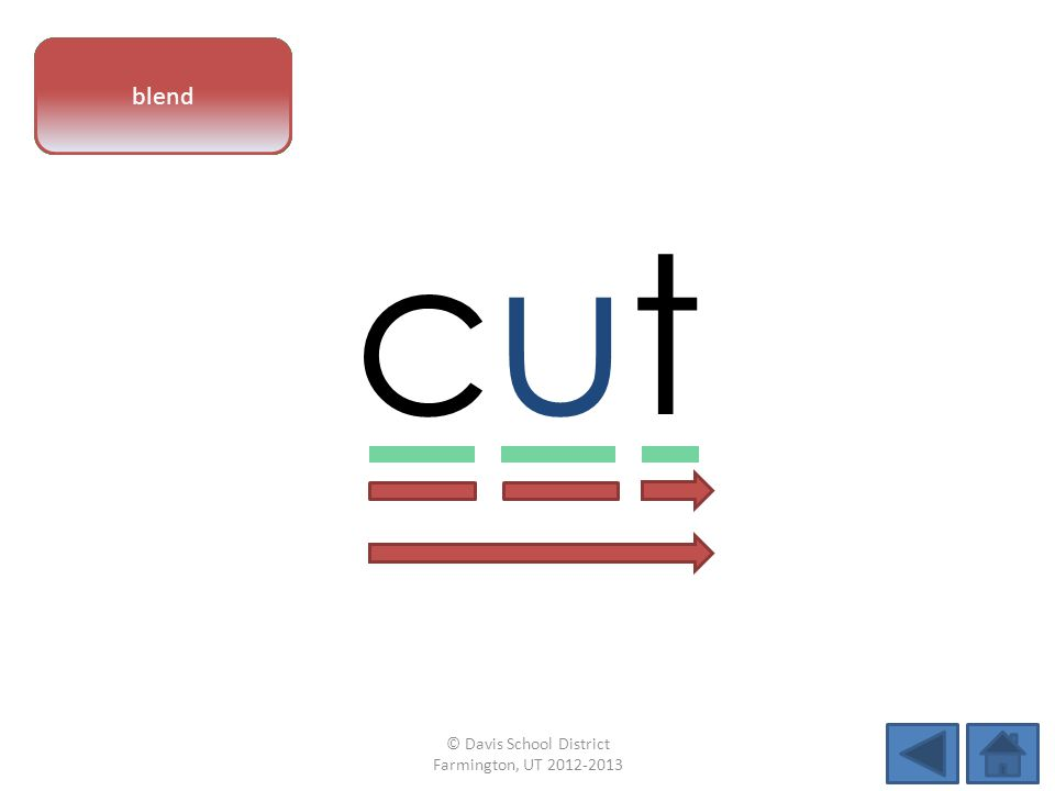 vowel pattern cutcut letter sounds blend © Davis School District Farmington, UT 2012-2013