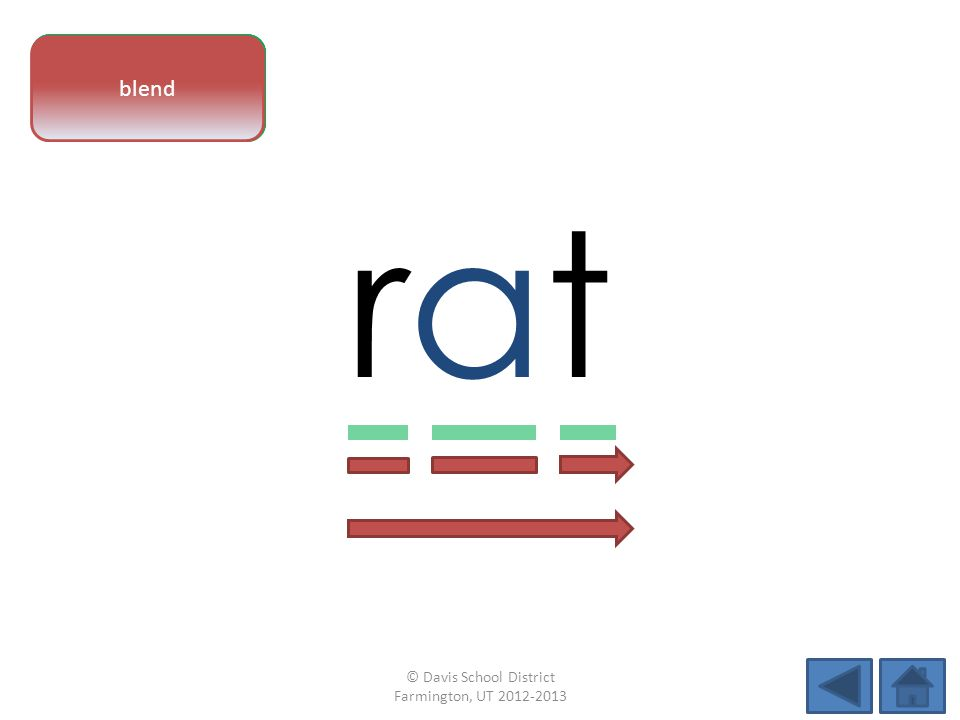 vowel pattern ratrat letter sounds blend © Davis School District Farmington, UT 2012-2013