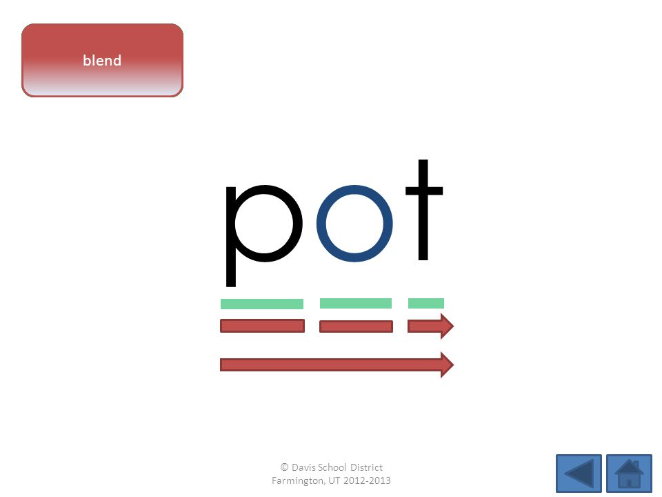 vowel pattern potpot letter sounds blend © Davis School District Farmington, UT 2012-2013