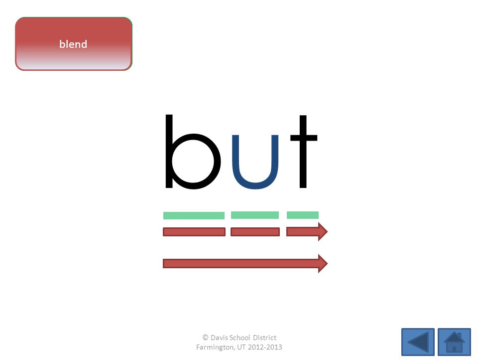 vowel pattern butbut letter sounds blend © Davis School District Farmington, UT 2012-2013