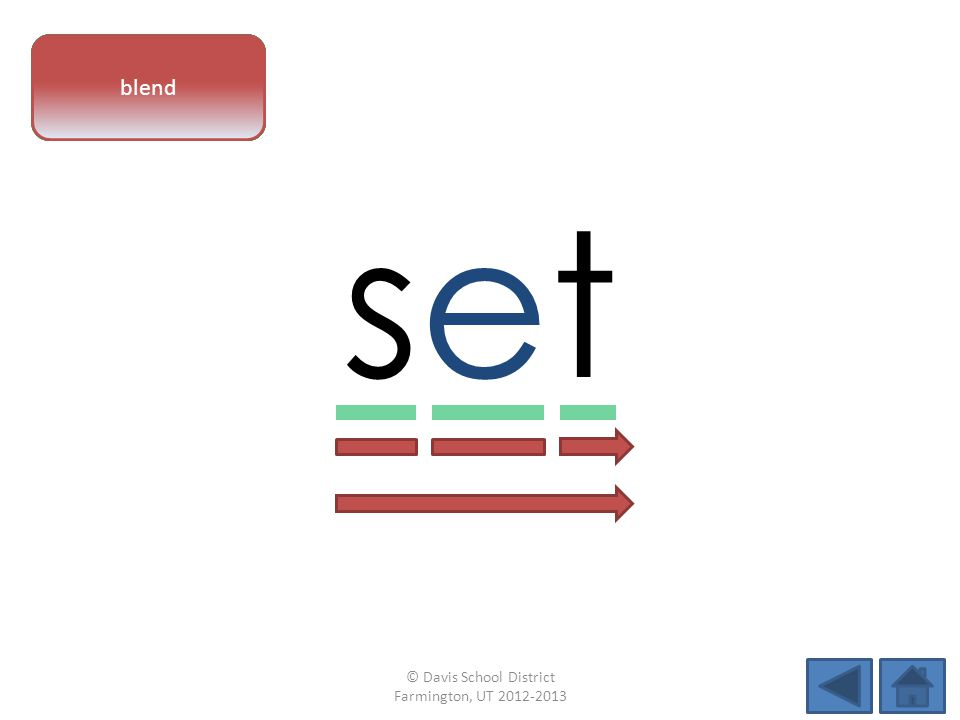 vowel pattern setset letter sounds blend © Davis School District Farmington, UT 2012-2013