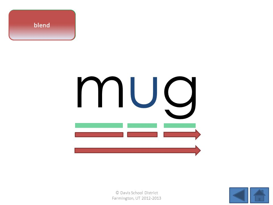 vowel pattern mugmug letter sounds blend © Davis School District Farmington, UT 2012-2013