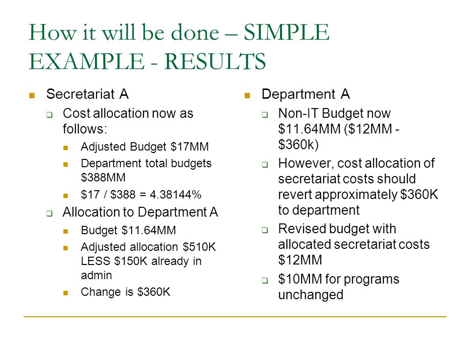 How it will be done – SIMPLE EXAMPLE - RESULTS Secretariat A  Cost allocation now as follows: Adjusted Budget $17MM Department total budgets $388MM $17 / $388 = 4.38144%  Allocation to Department A Budget $11.64MM Adjusted allocation $510K LESS $150K already in admin Change is $360K Department A  Non-IT Budget now $11.64MM ($12MM - $360k)  However, cost allocation of secretariat costs should revert approximately $360K to department  Revised budget with allocated secretariat costs $12MM  $10MM for programs unchanged