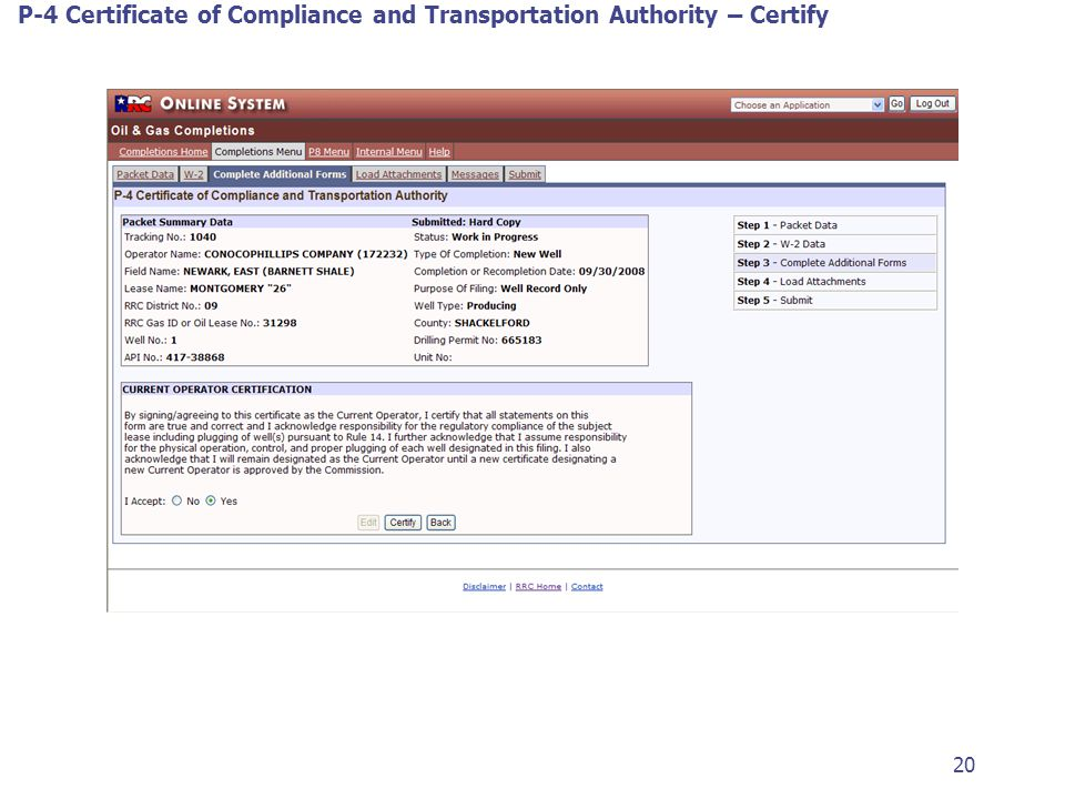 P-4 Certificate of Compliance and Transportation Authority – Certify 20