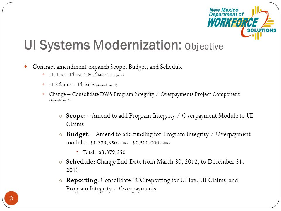 UI Systems Modernization: Objective Contract amendment expands Scope, Budget, and Schedule UI Tax – Phase 1 & Phase 2 (original) UI Claims – Phase 3 (Amendment 1) Change – Consolidate DWS Program Integrity / Overpayments Project Component (Amendment 2) oScope: – Amend to add Program Integrity / Overpayment Module to UI Claims oBudget: – Amend to add funding for Program Integrity / Overpayment module.