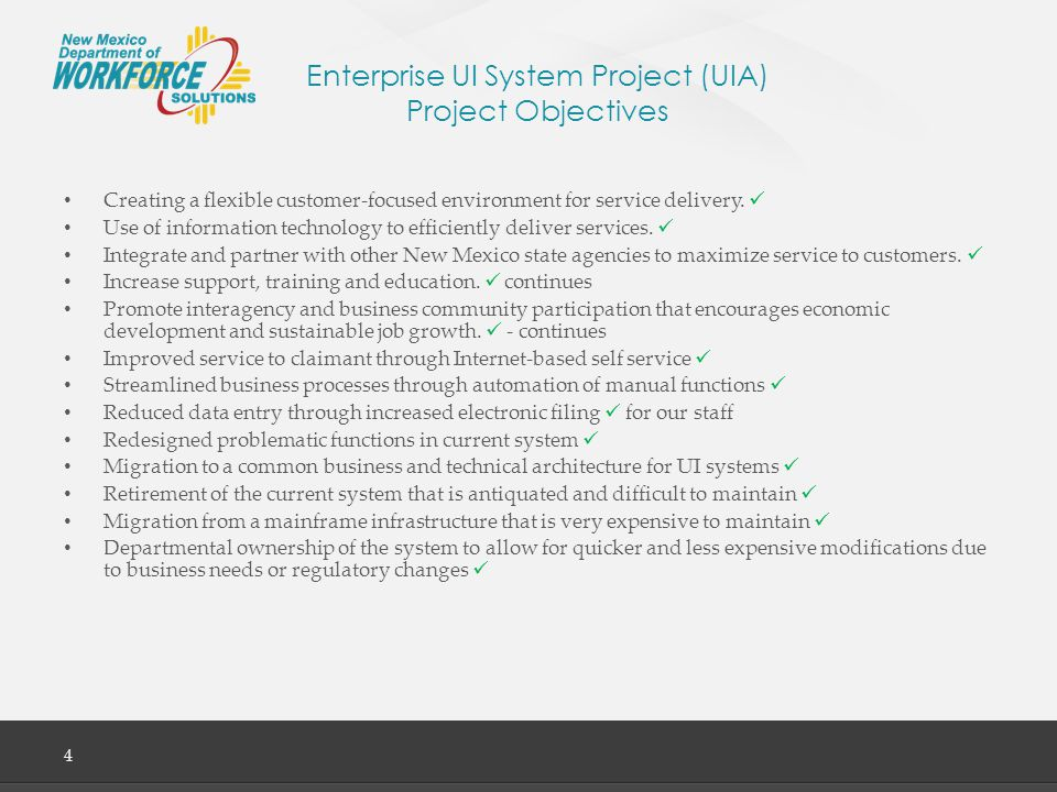 Enterprise UI System Project (UIA) Lessons Learned 15 Business and IT training and knowledge transfer Approach: A training plan for both business and IT was developed in collaboration with the DWS staff.