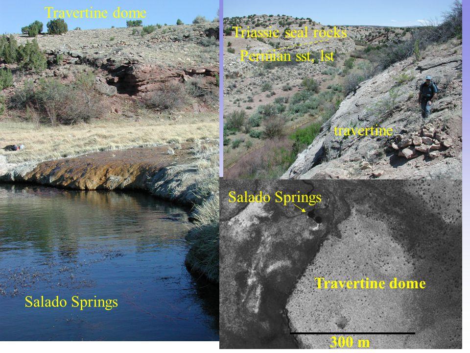 300 m Travertine dome Salado Springs Travertine dome travertine Permian sst, lst Triassic seal rocks