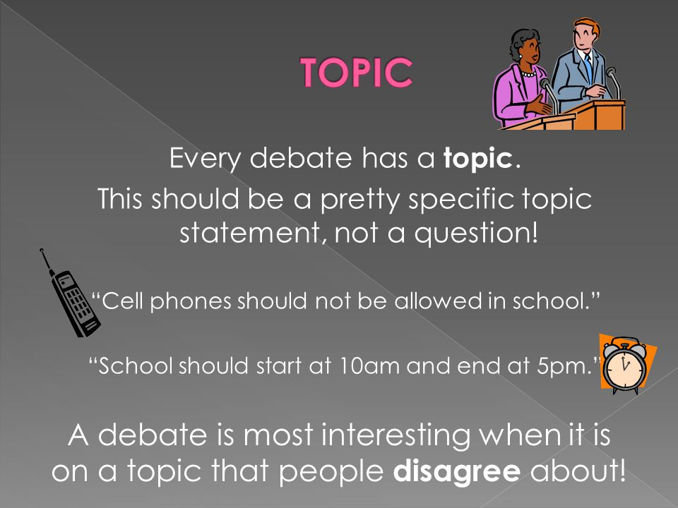 Every debate has a topic. This should be a pretty specific topic statement, not a question.