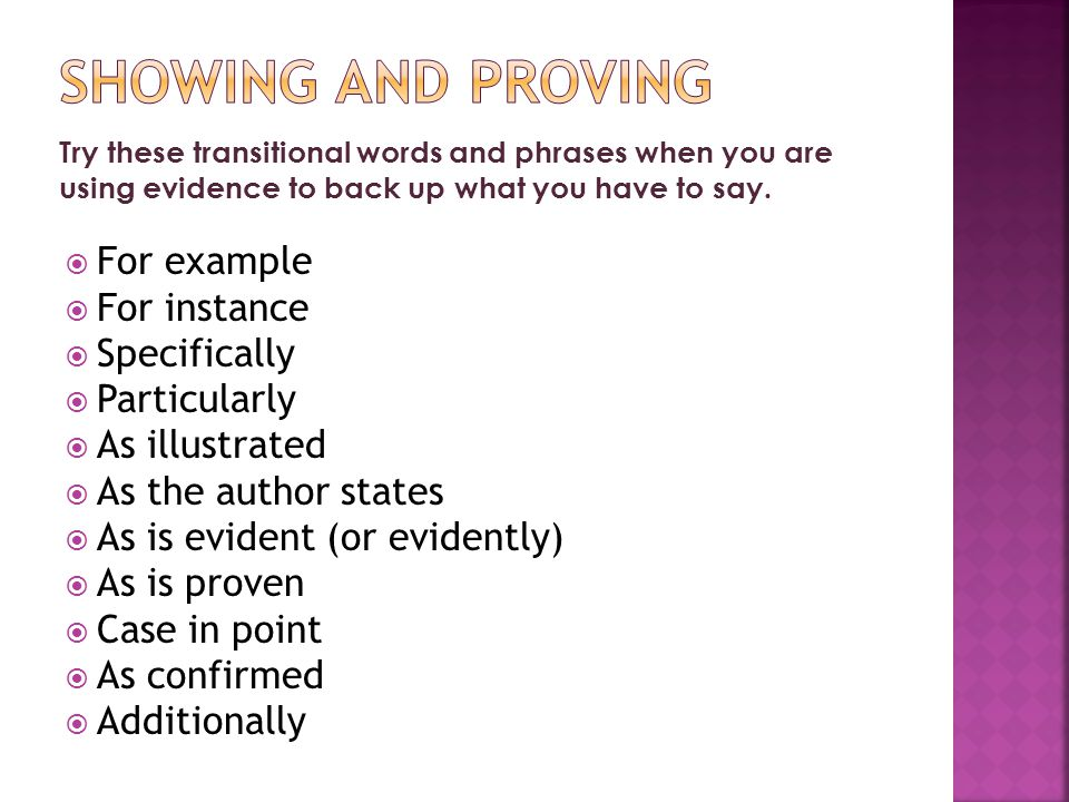 Try these transitional words and phrases when you are using evidence to back up what you have to say.