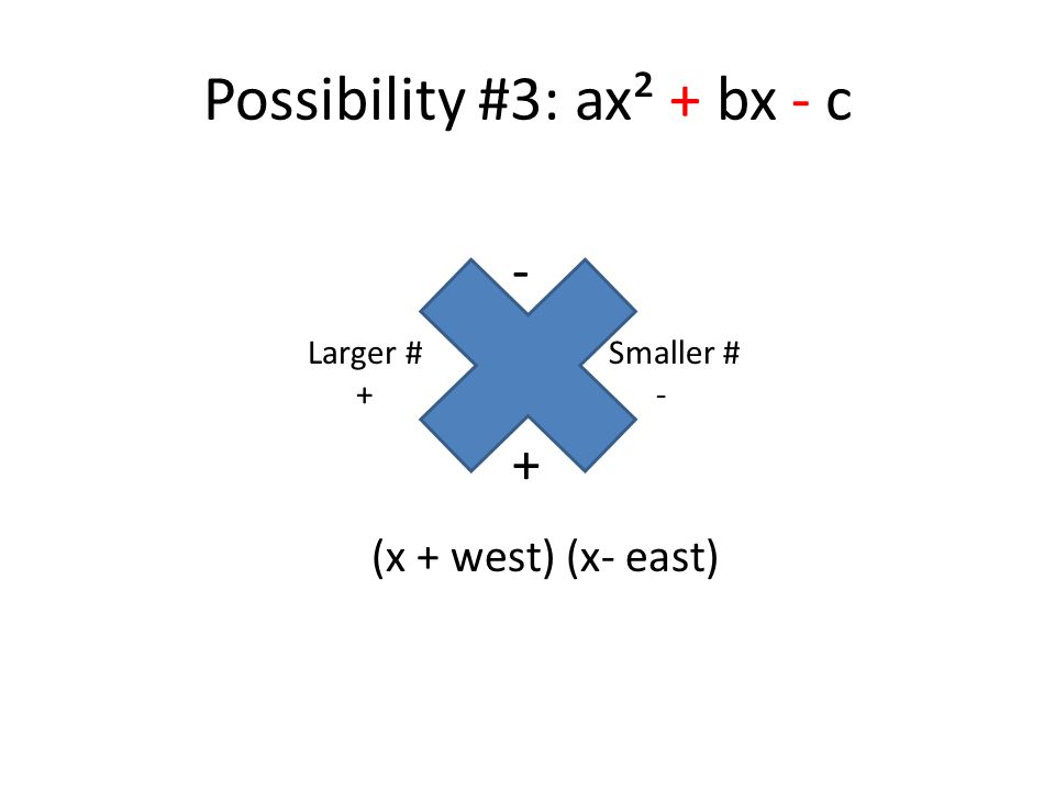 Possibility #3: ax² + bx - c (x + west) (x- east) - Larger # + Smaller # - +