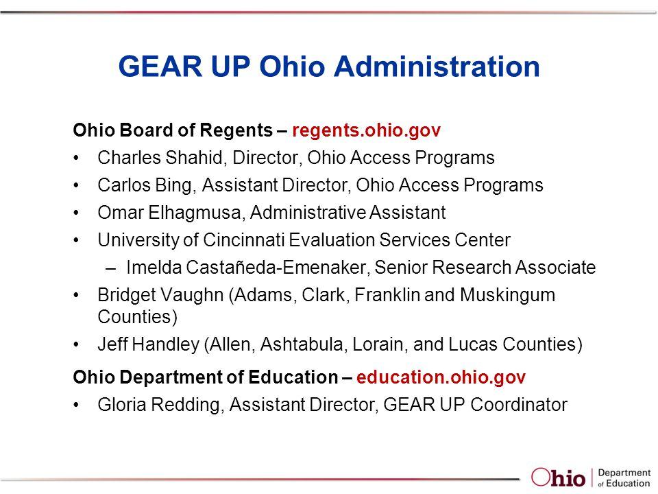 GEAR UP Ohio Administration Ohio Board of Regents – regents.ohio.gov Charles Shahid, Director, Ohio Access Programs Carlos Bing, Assistant Director, O