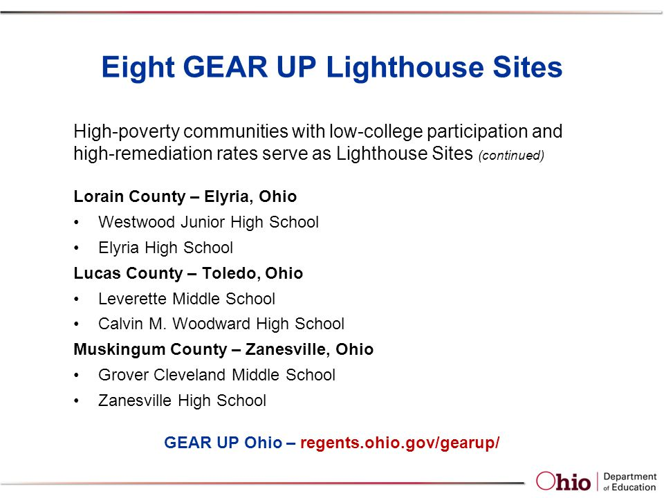 Eight GEAR UP Lighthouse Sites Lorain County – Elyria, Ohio Westwood Junior High School Elyria High School Lucas County – Toledo, Ohio Leverette Middle School Calvin M.