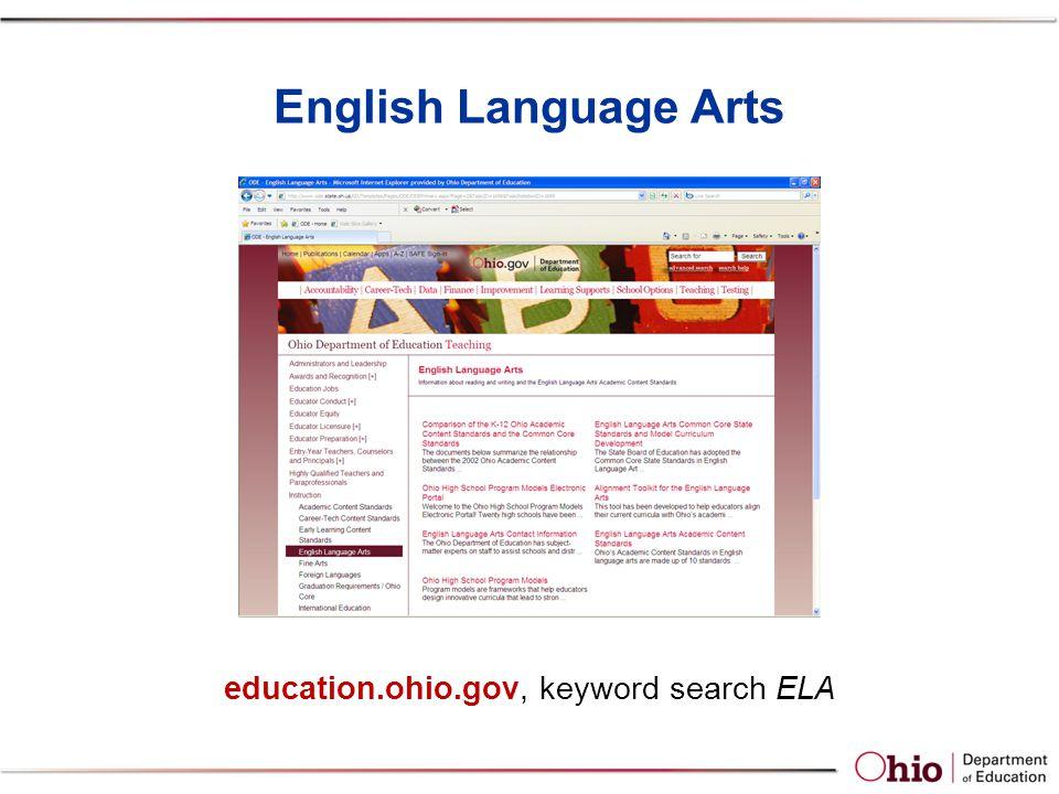 English Language Arts education.ohio.gov, keyword search ELA