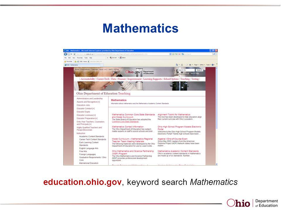 Mathematics education.ohio.gov, keyword search Mathematics
