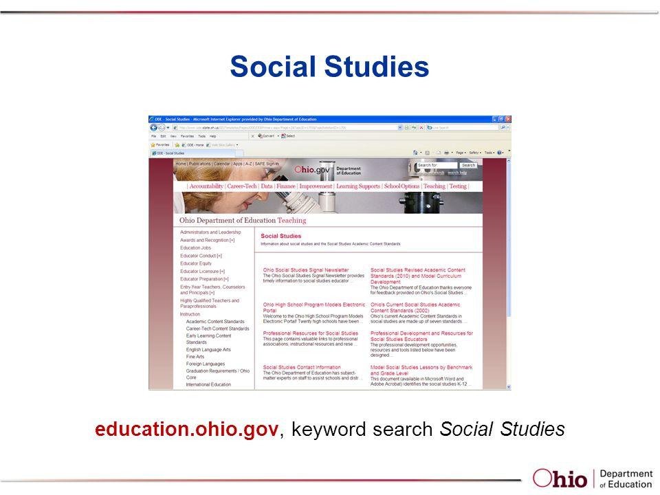Social Studies education.ohio.gov, keyword search Social Studies