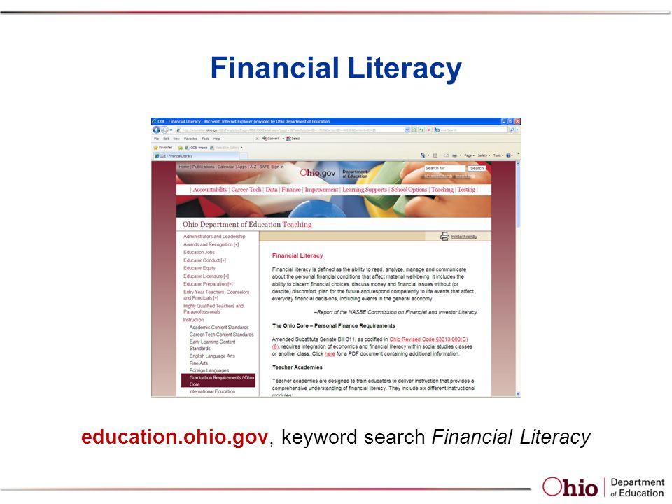 Financial Literacy education.ohio.gov, keyword search Financial Literacy