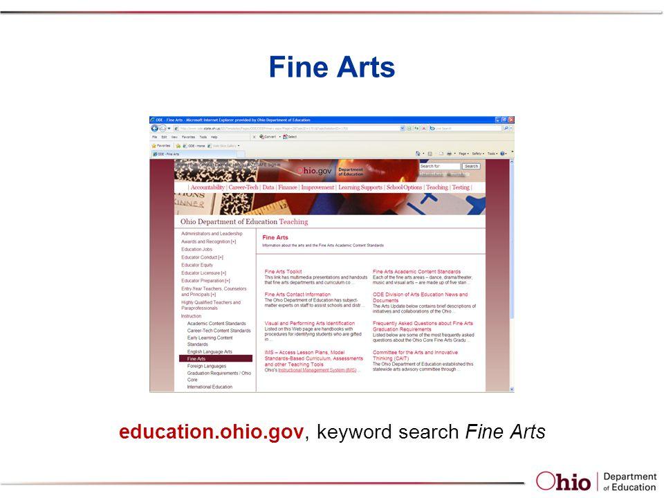 Fine Arts education.ohio.gov, keyword search Fine Arts