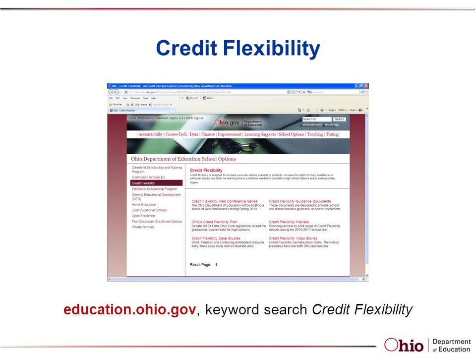 Credit Flexibility education.ohio.gov, keyword search Credit Flexibility
