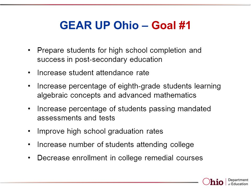GEAR UP Ohio – Goal #1 Prepare students for high school completion and success in post-secondary education Increase student attendance rate Increase percentage of eighth-grade students learning algebraic concepts and advanced mathematics Increase percentage of students passing mandated assessments and tests Improve high school graduation rates Increase number of students attending college Decrease enrollment in college remedial courses