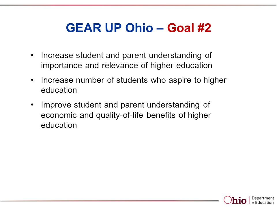 GEAR UP Ohio – Goal #2 Increase student and parent understanding of importance and relevance of higher education Increase number of students who aspire to higher education Improve student and parent understanding of economic and quality-of-life benefits of higher education