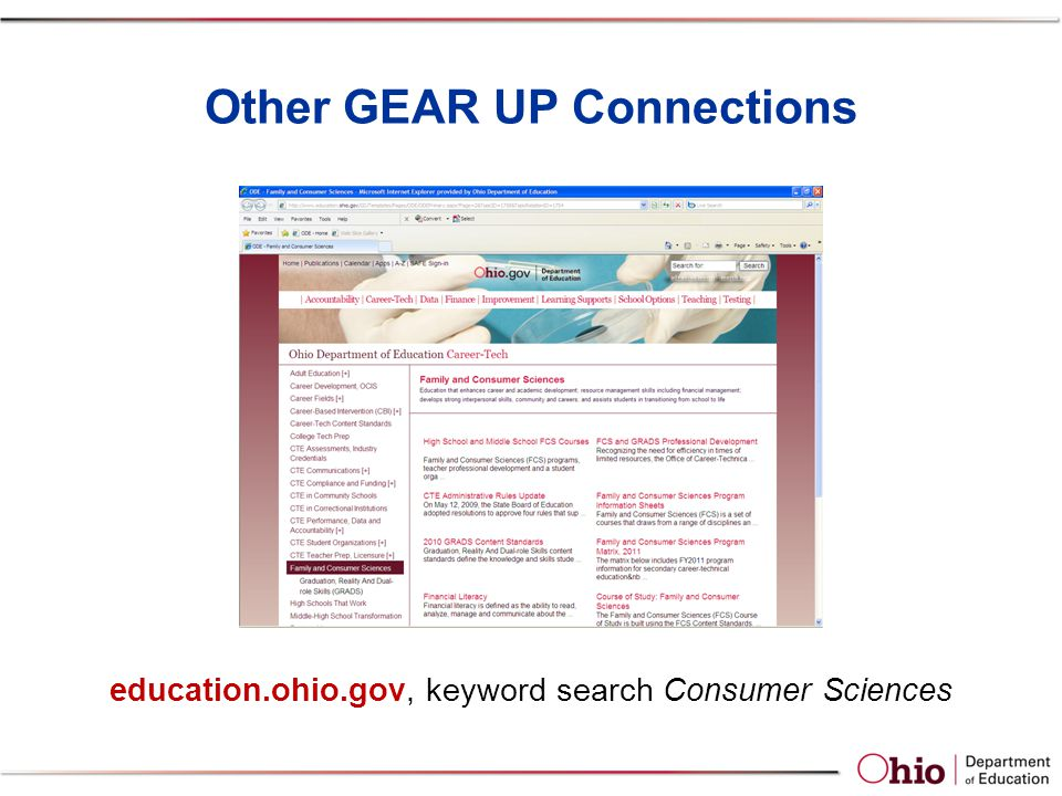Other GEAR UP Connections education.ohio.gov, keyword search Consumer Sciences