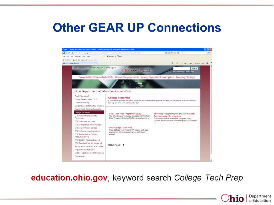 Other GEAR UP Connections education.ohio.gov, keyword search College Tech Prep