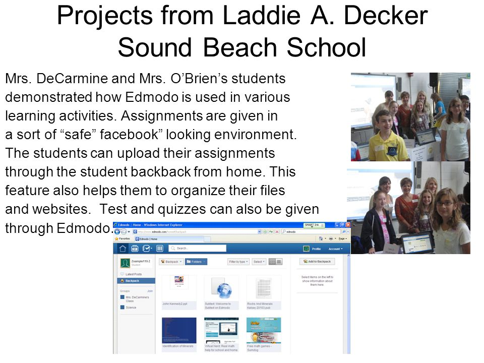 Projects from Laddie A. Decker Sound Beach School Mrs.