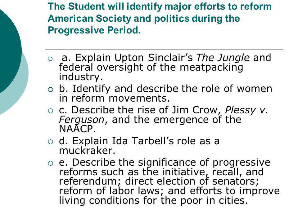 The Student will identify major efforts to reform American Society and politics during the Progressive Period.  a. Explain Upton Sinclair's The Jungl