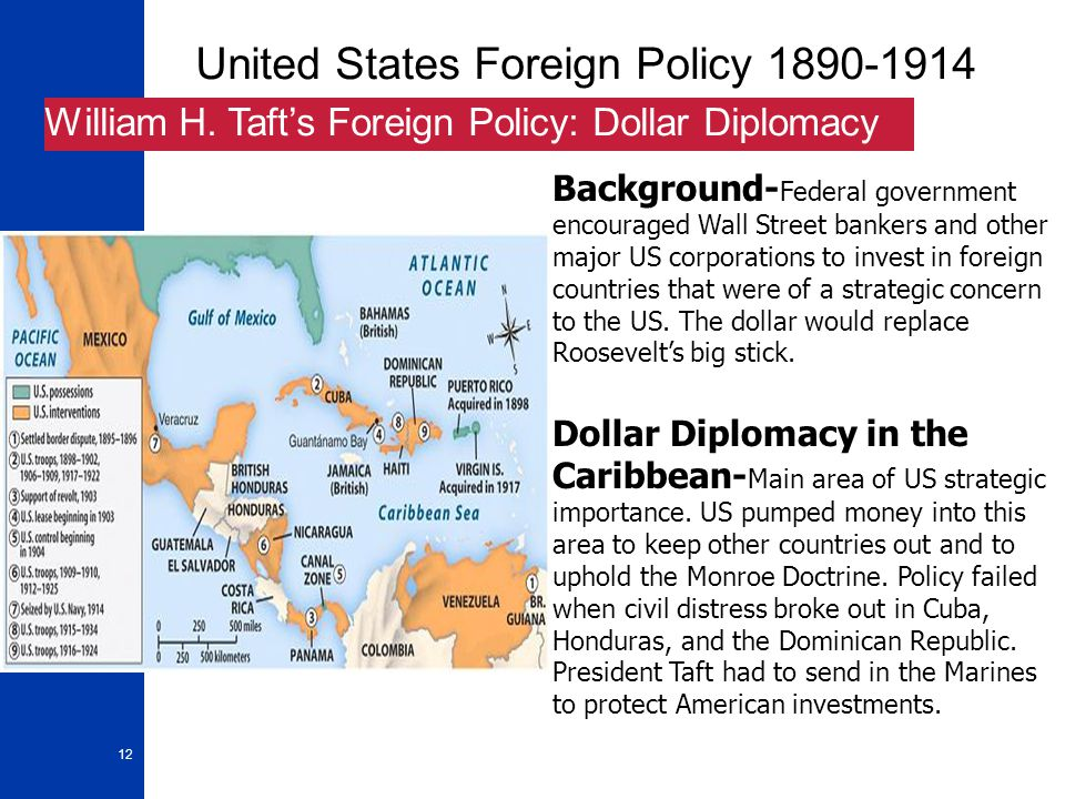12 United States Foreign Policy 1890-1914 William H. Taft's Foreign Policy: Dollar Diplomacy Background- Federal government encouraged Wall Street ban