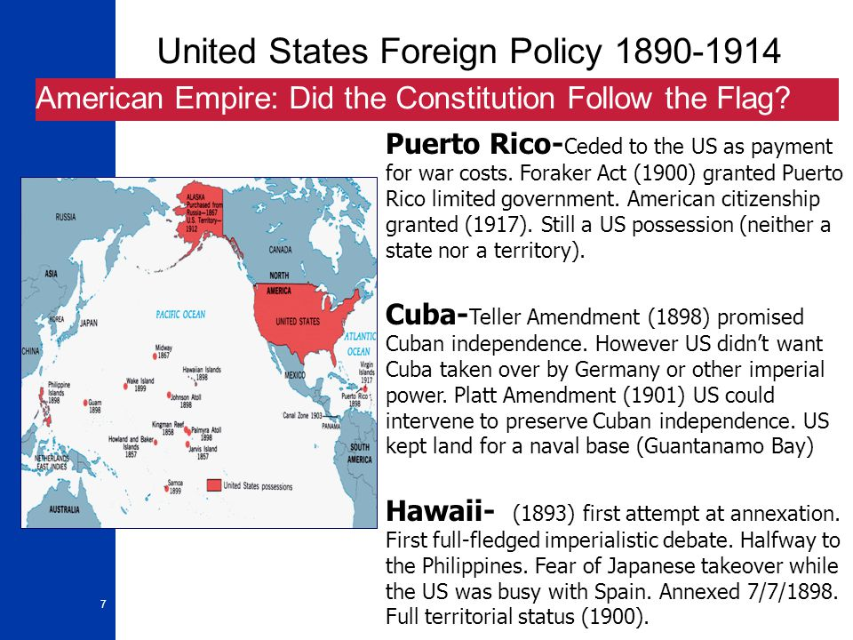 8 United States Foreign Policy 1890-1914 America in Asia: China and the Open Door Open Door Policy- China is a weak country in the 1890s.