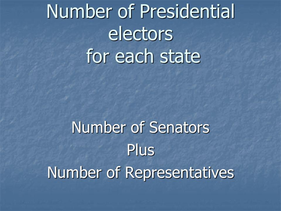 Number of Presidential electors for each state Number of Senators Plus Number of Representatives