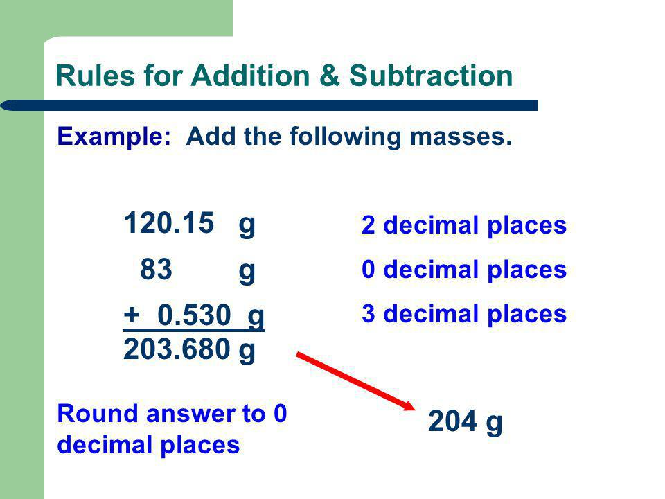 Rules for Addition & Subtraction Example: Add the following masses. 120.15 g 83 g + 0.530 g 2 decimal places 0 decimal places 3 decimal places Round a