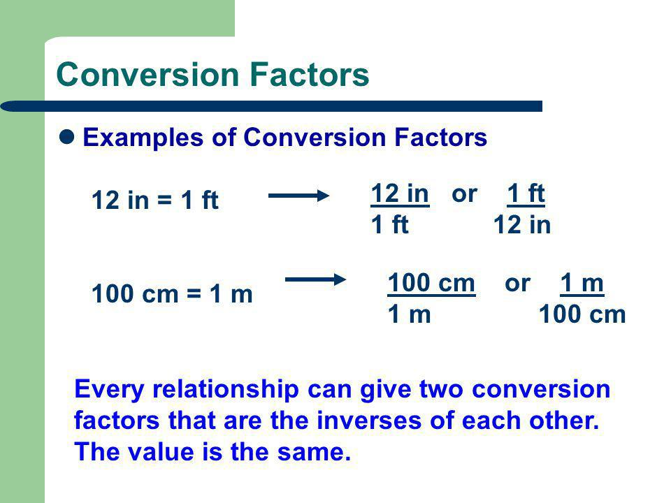 Conversion Factors Examples of Conversion Factors 12 in = 1 ft 100 cm = 1 m 12 in or 1 ft 1 ft 12 in 100 cm or 1 m 1 m 100 cm Every relationship can give two conversion factors that are the inverses of each other.