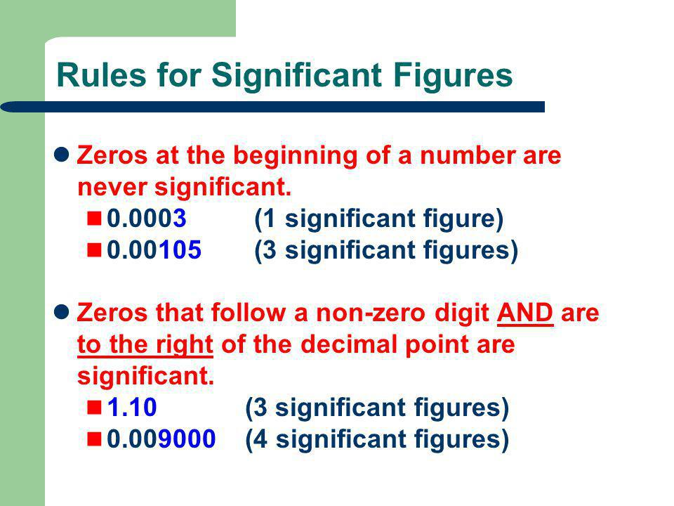 Rules for Significant Figures Zeros at the beginning of a number are never significant. 0.0003 (1 significant figure) 0.00105 (3 significant figures)