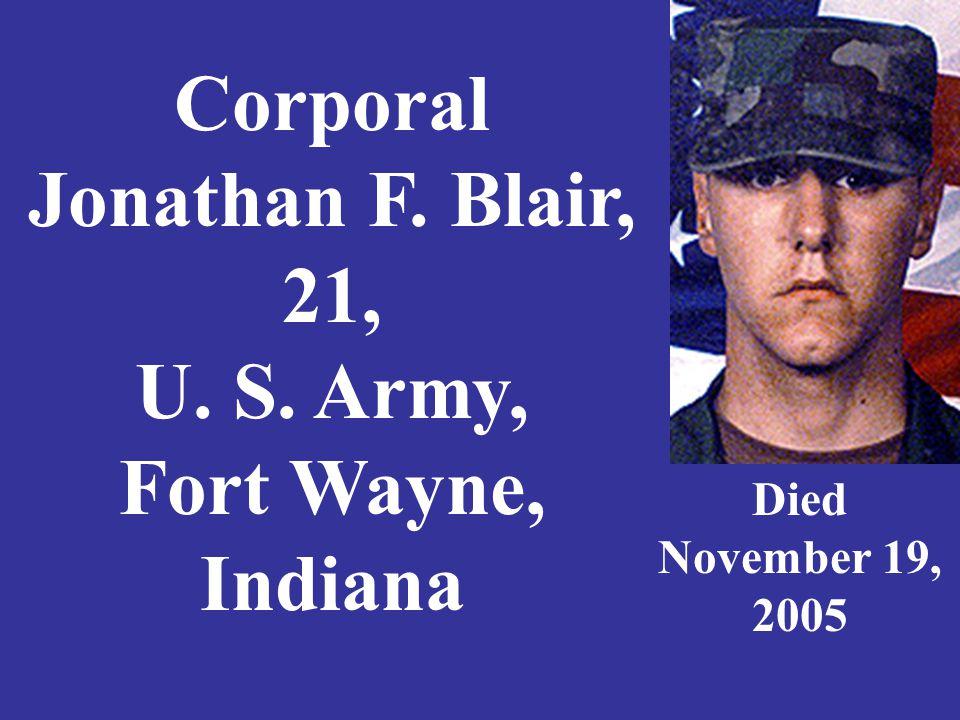 Staff Sergeant Richard A. Blakley, 34, Indiana Army National Guard, Avon, Indiana Died June 6, 2006