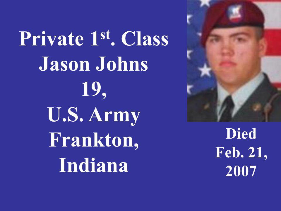 Sergeant Rickey E. Jones, 21, U. S. Army, Kokomo, Indiana Died Feb 22, 2006