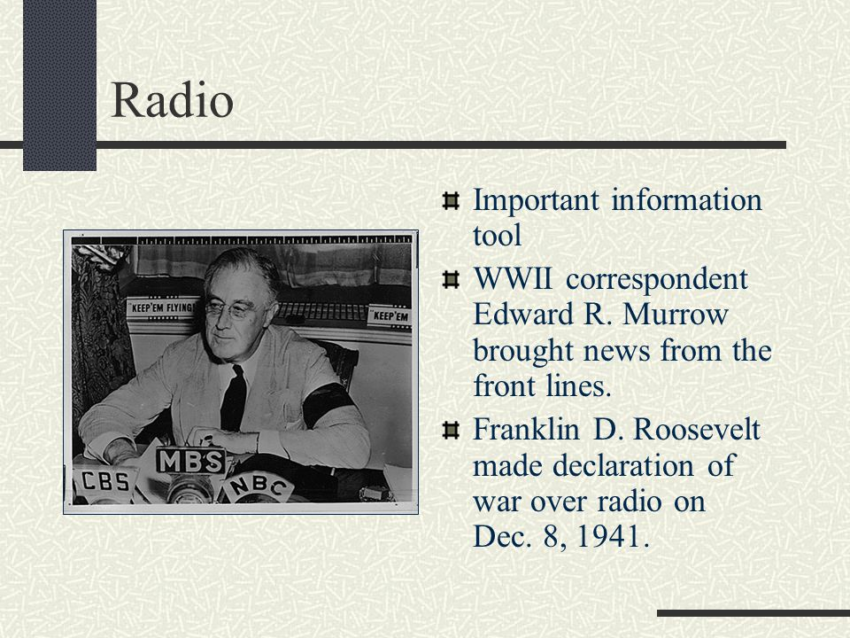 Radio 1930s is considered the Golden Age of Radio. Americans listened to: music, drama, comedy, variety shows and news Jack Benny and Bob Hope were po